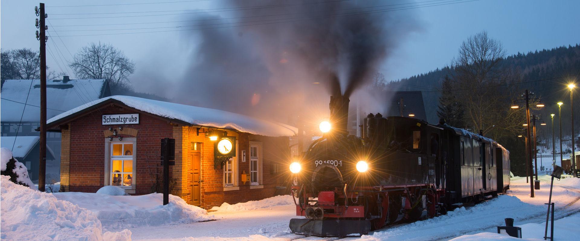 Preßnitztalbahn im Winter - Bahnhof Schmalzgrube  © CHRISTIAN SACHER