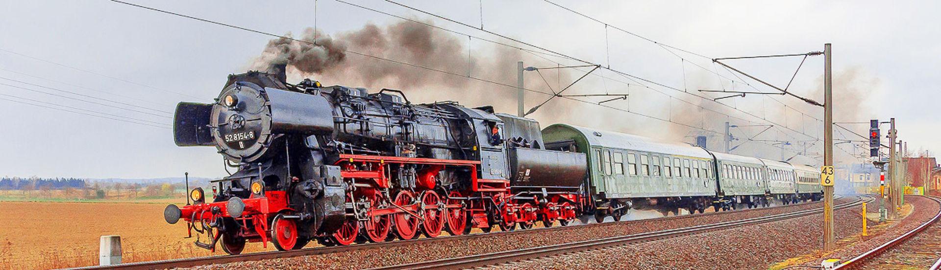 Dampfzug des Eisenbahnmuseum Leipzig.  © Pressebild Eisenbahnmuseum Bayrischer Bahnhof zu Leipzig e.V.