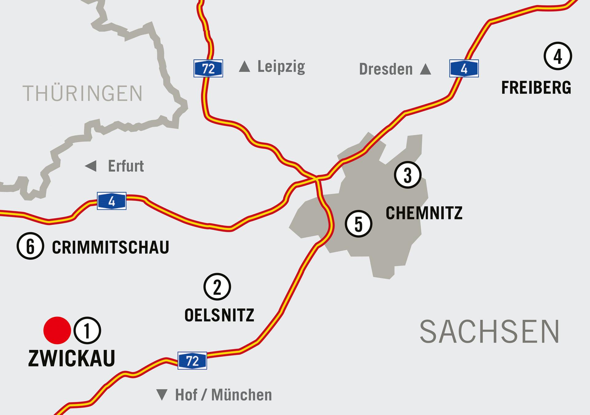 Standorte der 4. Sächsischen Landesausstellung 2020  ©