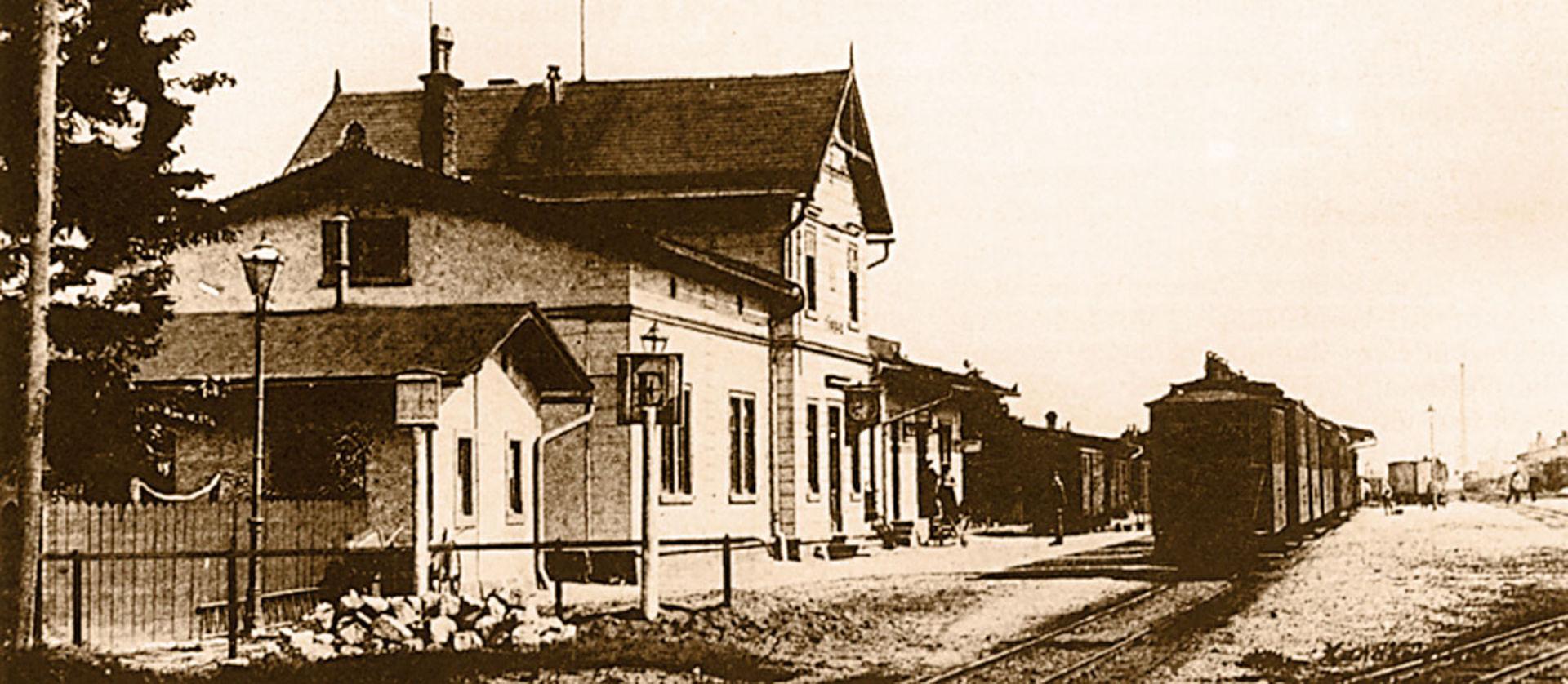 Historischer Bahnhof Mügeln.  © Sammlung A. Linz